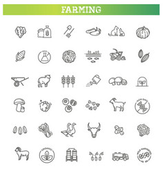 set of agriculture and farming line icons vector image