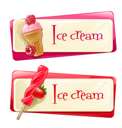 set of banners with ice cream vector image