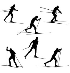 Set skiing athletes skiers vector