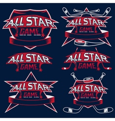 set vintage sports all star crests with hockey vector image