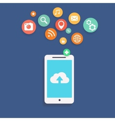 showing use cloud computing storage vector image