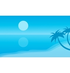 Silhouette of beach and reflection vector