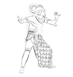 simple hand draw sketch hanoman or anumat god vector image
