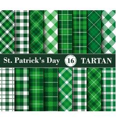 sixteen set tartan seamless patterns st vector image