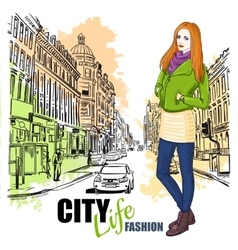 Sketch Fashion City Street Poster vector image