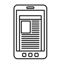 smartphone newspaper icon outline style vector image