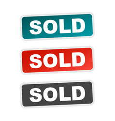 Sold stamp flat with shadow on white background vector