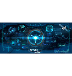 spaceship control panel dashboard in hud style vector image