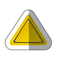 sticker yellow triangle shape traffic sign icon vector image