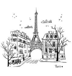 streets paris sketch vector image