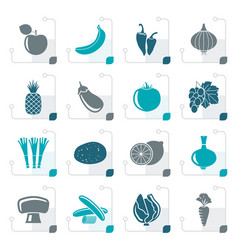 Stylized different kind of fruit and vegetables vector