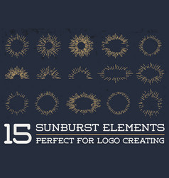 Sun burst vintage shapes collection set of ray vector