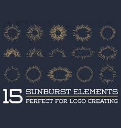 Sun burst vintage shapes collection set sun ray vector