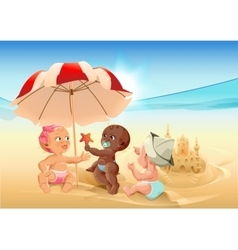 Three baby playing on beach vector