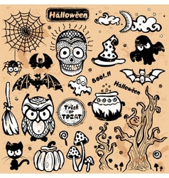 vintage halloween of icons vector image