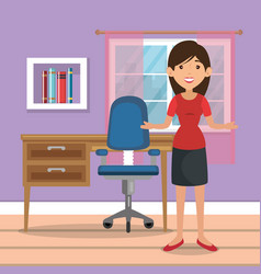 Woman in home office place house vector