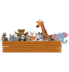 wooden sign with cute animals in the back vector image