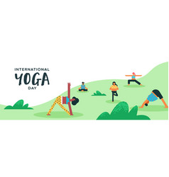yoga day banner people doing exercise outdoor vector image