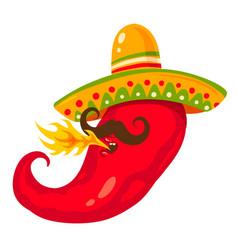 chili pepper in sombreco vector image