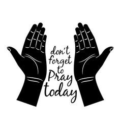 jesus praying hands silhouette vector image