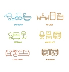 Colorful Icon Room Furniture Outline vector image
