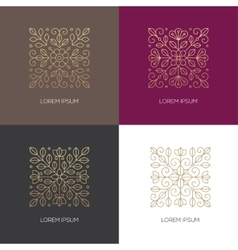Four square linear floral logo vector image vector image