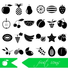 fruit theme black simple icons set eps10 vector image