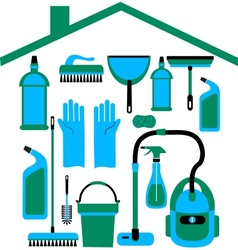house set in blue colors vector image