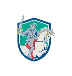 Knight Riding Horse Sword Cartoon vector image