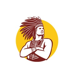 Native American Indian Chief Warrior Circle Retro vector image