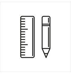 pencil and ruler icon on white background vector image vector image