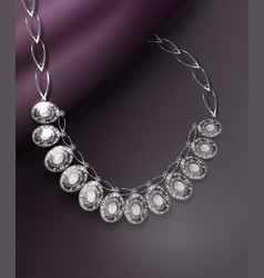 sparkling diamond necklace vector image