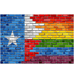 brick wall texas and gay flags vector image