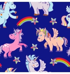 hand drawn unicorns seamless pattern blue vector image