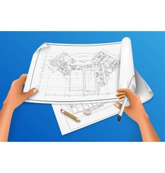 hand draws a drawing with a pencil vector image vector image