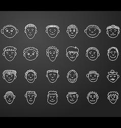 icon set 24 face man white vector image vector image