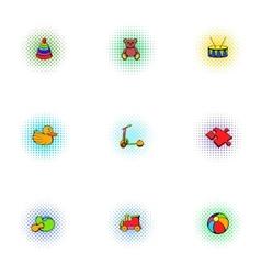 Kids fun icons set pop-art style vector image vector image