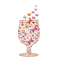 Silhouette of a glass with a pattern of flowers vector image vector image