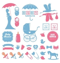 Baby shower design elements set Pregnancy vector image vector image