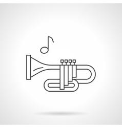 Brass wind tune flat line icon vector
