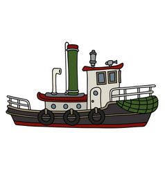 funny old steam tugboat vector image vector image