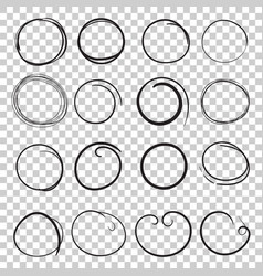 Hand drawn circles icon set collection of pencil vector