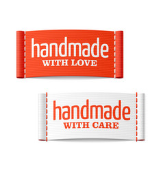 handmade with love and care labels vector image