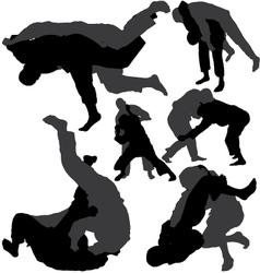 Jiu-Jitsu and judo silhouettes vector image vector image