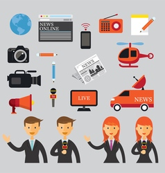 Man and Woman Reporter with News Flat Icons Set vector image vector image