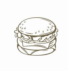 outline burger vector image
