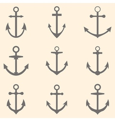 Set of anchors Anchor symbols or logo template vector image vector image