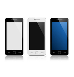 set of mobile phones isolated on white vector image
