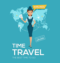 Travel poster of airline best time to travel vector