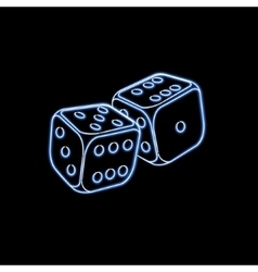 Two neon dices vector
